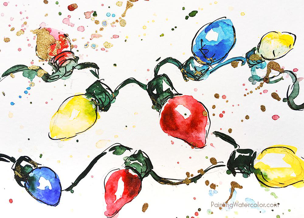 DIY Christmas Card retro lights