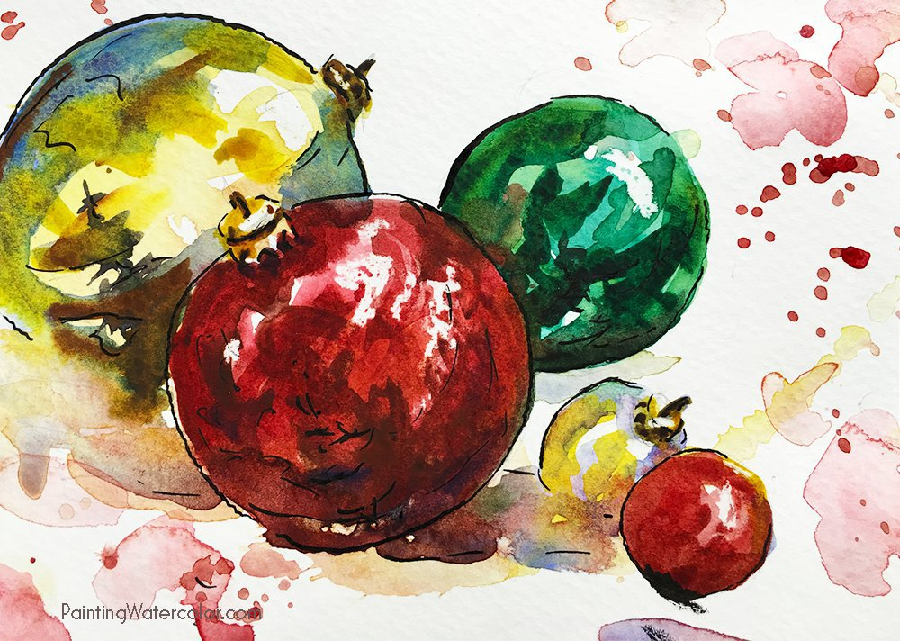 12 days of christmas cards ornaments for Painted christmas cards