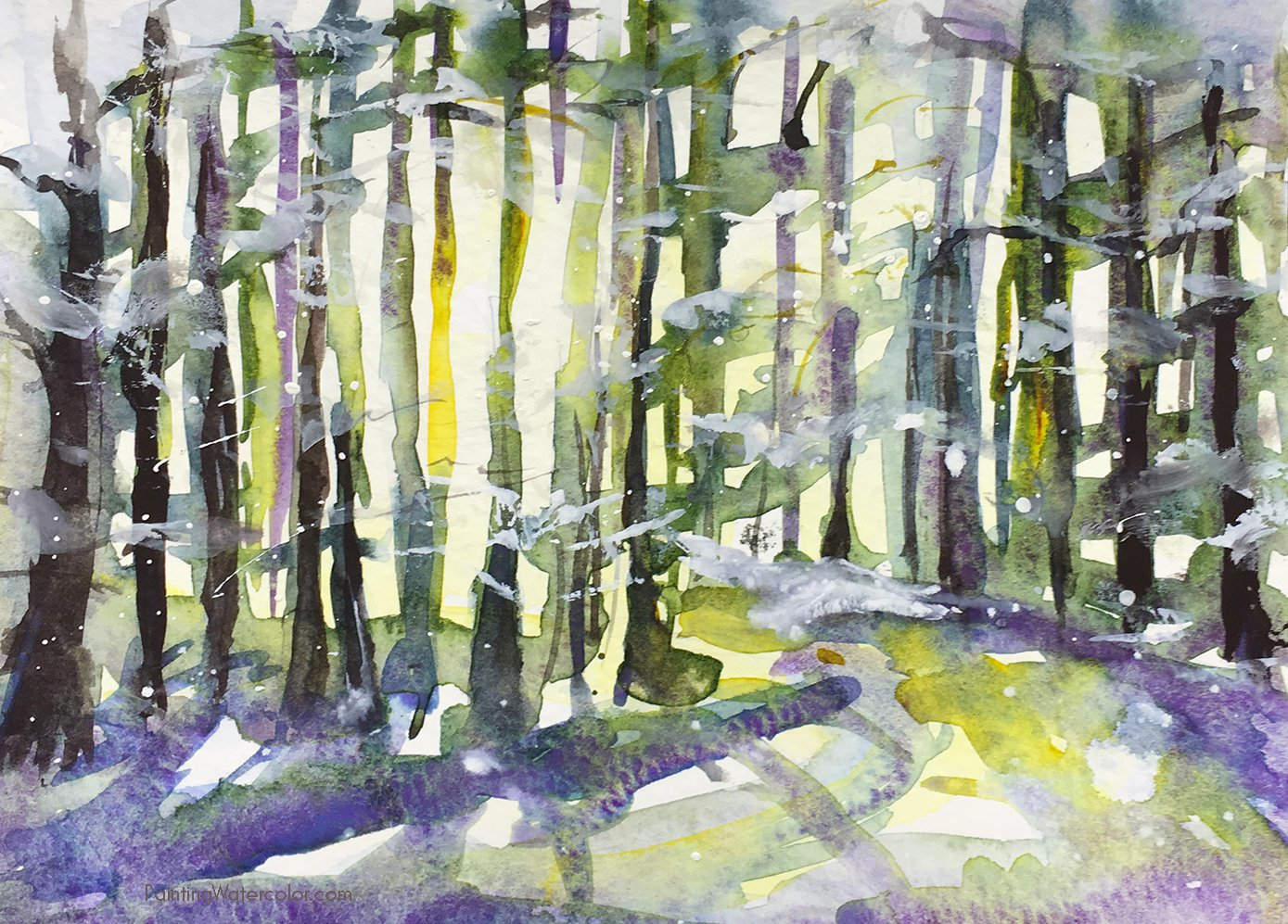 Watercolor Painting Tutorial Christmas Card Snowy Woods
