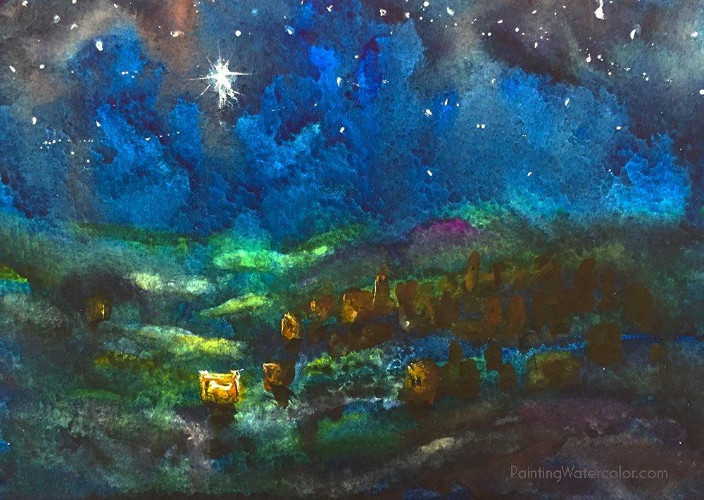 Watercolor Painting Tutorial Christmas Card Bethlehem Star