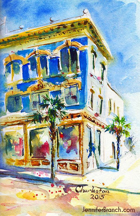 Charleston house watercolor sketch
