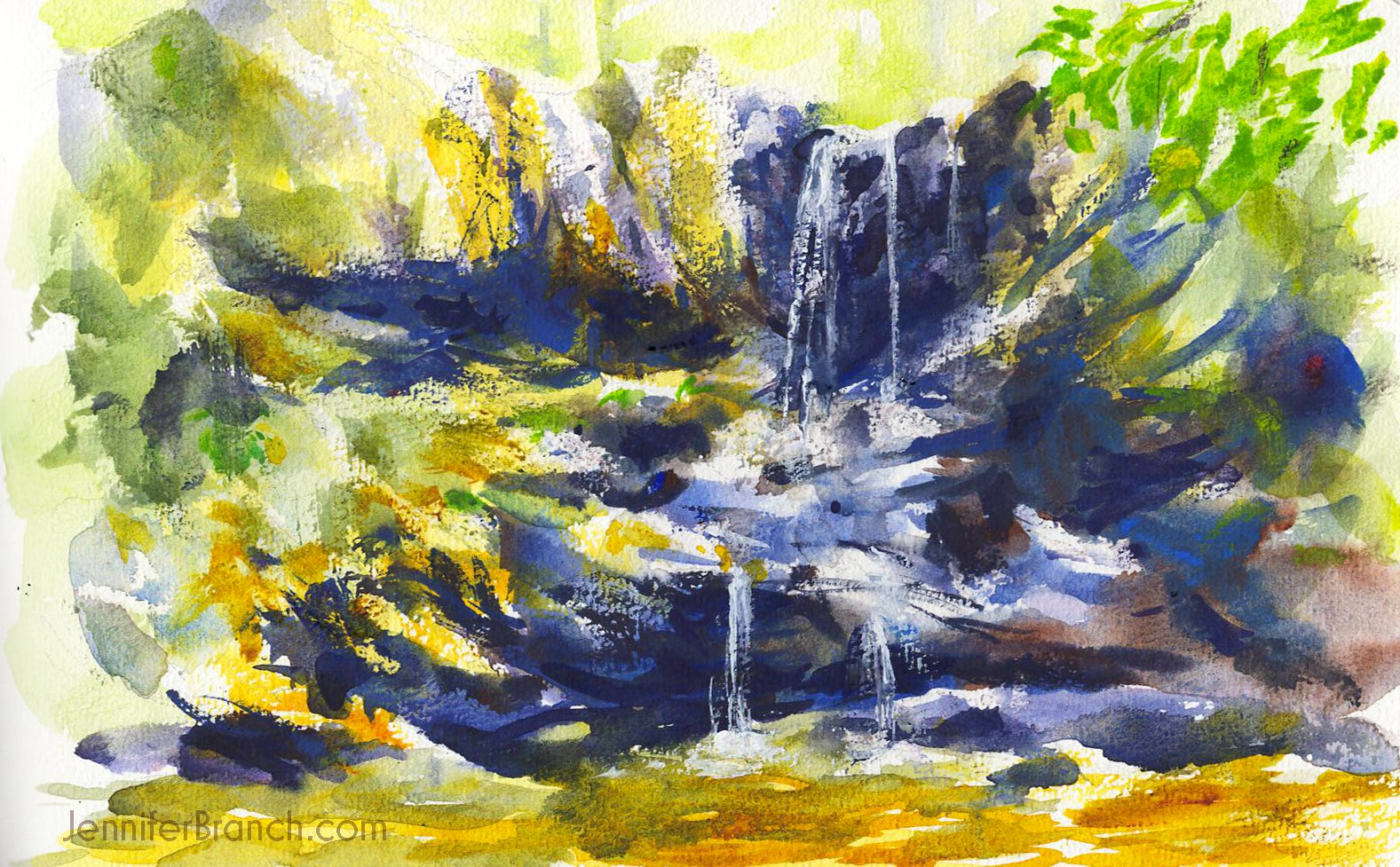 High Shoals waterfall watercolor sketch